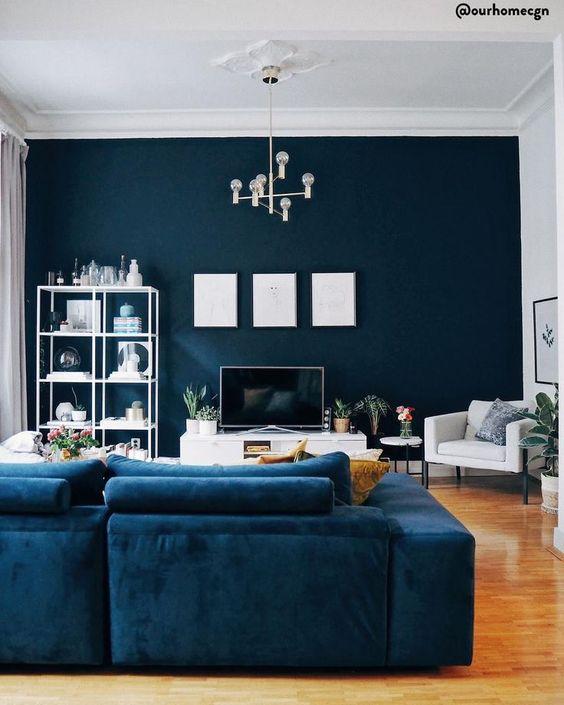 dekorasi ruang tamu biru